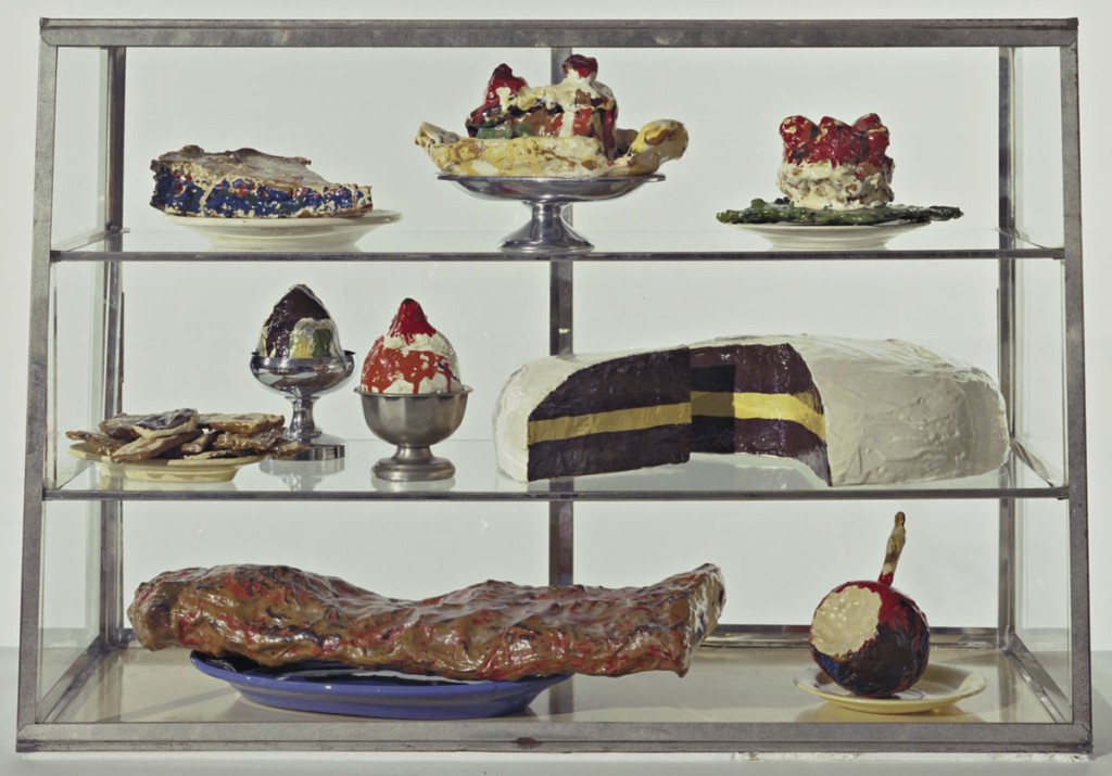 Pastry Case, I. 1961–62. Painted plaster sculptures on ceramic plates, metal platter, and cups in glass-and-metal case